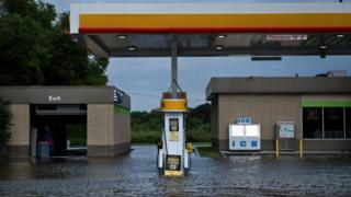 Filling Station in flood
