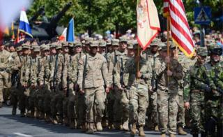 US soldiers marched in Warsaw in 2017