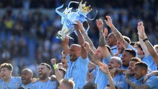 Manchester City celebrate winning Premier League
