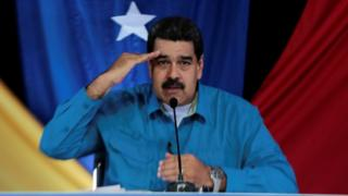 "President Nicolas Maduro speaks during his weekly broadcast ""Los Domingos con Maduro"" (Sundays with Maduro) in Caracas on 30 April, 2017."