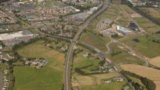 Aerial photograph of the A9 at Inverness
