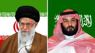 Kiongozi wa dini wa Iran Ayatollah Ali Khamenei (kushoto) na mwanamfalme wa SaudiaMohammed bin Salman