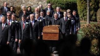 Reverend George Battles Jr. delivers the benediction during the funeral of Reverend Dr. Billy Graham in Charlotte, North Carolina.