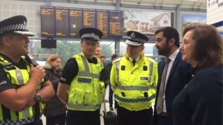 Humza Yousaf met police officers at Haymarket station