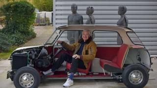 Sir James Dyson sitting in Mini
