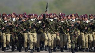 Pakistani troops from the Special Services Group (SSG) march during the Pakistan Day military parade in Islamabad on March 23, 2018.