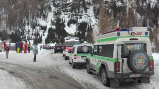 Rescuers arrive close to the place where an avalanche came down in the Ahrn valley (Ahrntal) in South Tyrol, Italy, 12 March 2016.
