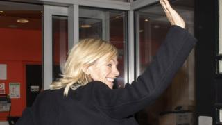 Zoe Ball arriving for her first Radio 2 breakfast show