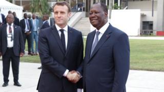 Shugaba Macron da Alassane Ouattara na Cote d'Ivoire