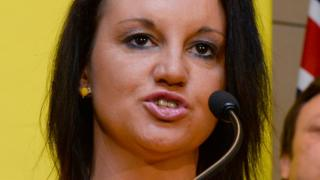 Senator Jacqui Lambie of the Palmer United Party (PUP) speaks during a press conference in Sydney on October 10, 2013. Australian mining billionaire and leader of the Palmer United Party (PUP) Clive Palmer announced he and Australian Motoring Euthusiast Party (AMEP) senator Ricky Muir had signed a memorandum of understanding to work together and with intentions for Muir to vote with the Palmer United Party in the Senate, in Sydney on October 10, 2013