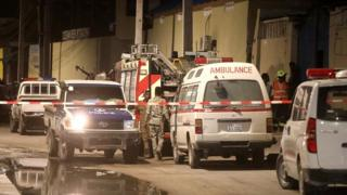 sports Emergency vehicles pictured after a blast at the Elite Hotel in Lido beach in Mogadishu, Somalia August 16, 2020