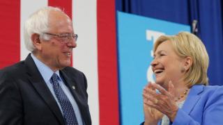 Bernie Sanders anunciou apoio à rival Hillary Clinton