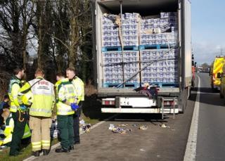 The lorry that was stopped on the M1