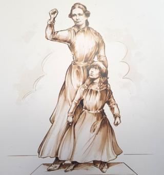 Statue of Sophia Goulden and her daughter Emmeline Pankhurst