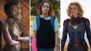 Lupita Nyongo, Saoirse Ronan, Brie Larson composite image