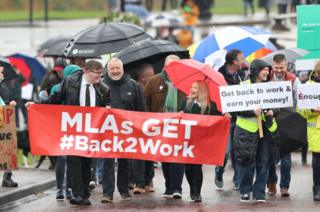 People march at Stormont to mark 1,000 days since the Northern Ireland Assembly collapsed