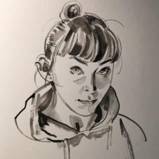 Anne Barnetson (a self portrait in ink)