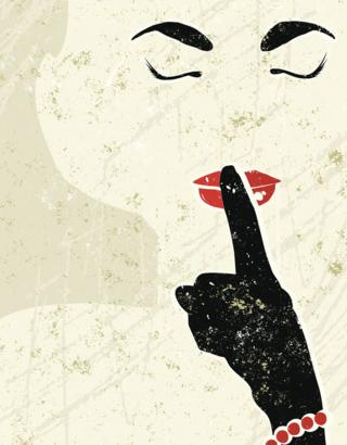 dibujo de mujer con dedo en los labios