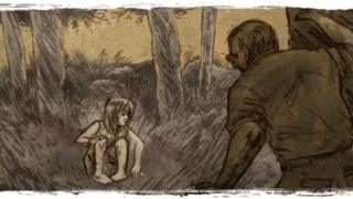 Ilustración de la niña en medio de vegetación densa junto al fotógrafo