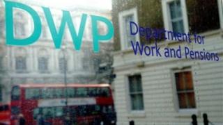 DWP sign on window