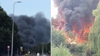 Plumes of black smoke in Stevenage.