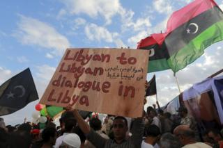 Protest against candidates for a national unity government proposed by UN envoy for Libya Bernardino Leon
