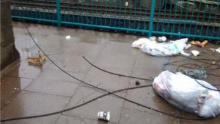 Loose power cables at Abergavenny railway station