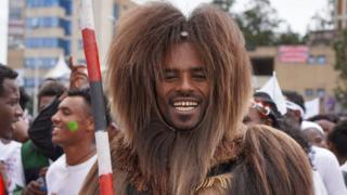 Man in traditional Oromo costume in Ethiopia - October 2019