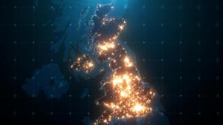 An illustration of areas in the UK that have lots of light pollution