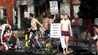 Cyclists underwear protest