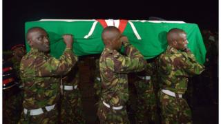 Bodies of Kenyan soldiers killed in Somalia arrive in the capital, Nairobi.