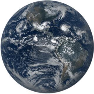 Imagen de la tierra con la ubicación de los huracanes