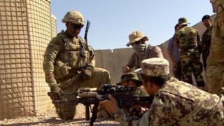 US troops train the Afghan army in Helmand in 2016