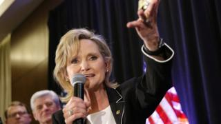 US Republican Senator Cindy Hyde-Smith Speaks at an Election Night in Jackson, Mississippi, November 27, 2018