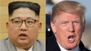 北朝鮮金正恩(キム・ジョンウン)朝鮮労働党委員長(左)とドナルド・トランプ米大統領