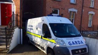 Irish police van at crime scene