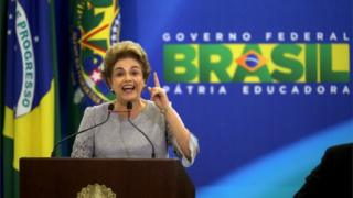 Brazilian President Dilma Rousseff delivers a speech during meeting with a group of jurists and lawyers