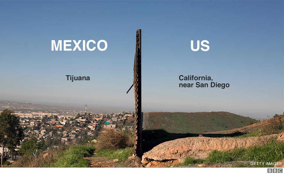 Image of the current border barrier between the US and Mexico