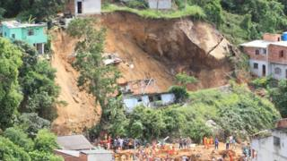 General view of a landslide in Niteroi, a community in the state of Rio de Janeiro