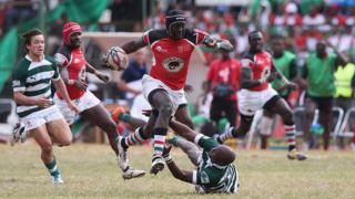 Le Kenyan Humphrey Khayange, lors d'un match de qualification pour la Coupe du monde de rugby contre le Zimbabwe, le 6 juillet 2014.