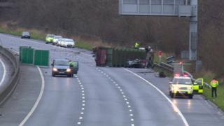 Crash on M62 near to the Eccles Interchange