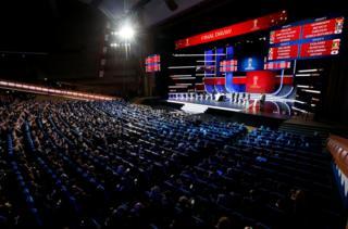 2018年世界杯小组抽签仪式在莫斯科举行。
