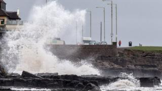 The seafront at Porthcawl as Storm Barney starts to whip up the waves