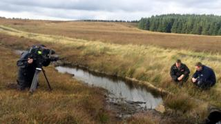 The BBC filming at Garron Plateau
