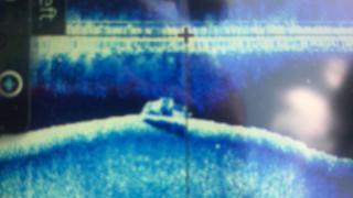 A sonar scan showing the truck at the bottom of Lake Sakakawea