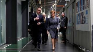 "Scotland""s First Minister Nicola Sturgeon visits the Rolls Royce plant at Inchinnan"