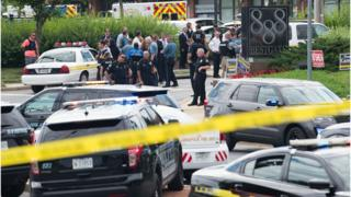Police at the scene of a shooting in Annapolis