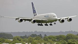 An Airbus A380 coming in to land at Heathrow Airport