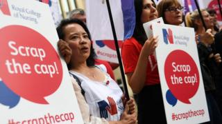 Nurses protesting about public sector pay