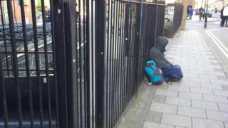 Homeless person in Bedford